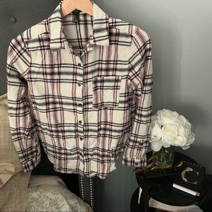2 for $19 White Red Black Plaid F21 Long Sleeve